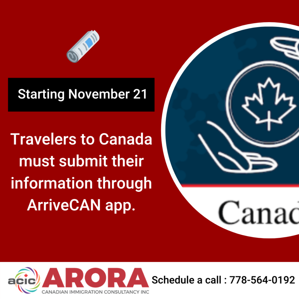 Travelers to Canada must submit   their information through ArriveCAN app.